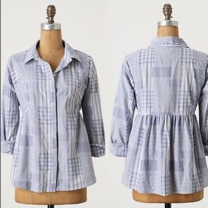 Anthropologie Odille patchwork buttondown shirt